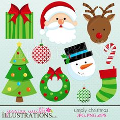 Simply Christmas clipart set comes with 10 clipart graphics including: a christmas gift, a santa, a reindeer, a christmas tree, 2 christmas ornament balls, a snowman, a wreath, a stocking and a candy cane.