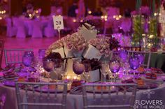 Stone themed Fantasy tables with amnesia roses and odessa calla lilies at the 2014 Montefiore Gala - By Flowers of the World #nyc #design #waldorf=astoria #roses #callalilies #aubergine