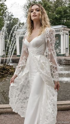 lian rokman 2018 bridal long sleeves ballerina neckline simple full embellishment elegant sheath wedding dress a line overskirt lace back sweep train (12) zv