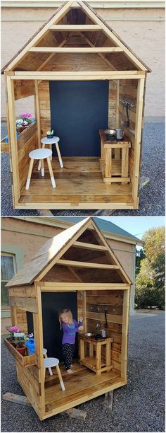 Arrange a perfect playhouse for your kid through the ideal use of wood pallet structuring material into it. Making your kids summer holidays super exciting and interesting is rather made possible through this amazing wood pallet playhouse creation. As shaped in the hut style it do feature the stools and table set in it. #woodworkingforkids