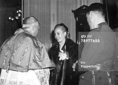 Circa 1950. A picture of Argentinian president Juan Peron with his wife Eva Peron when they met Pope Pius XII.