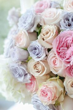 Bouquet of pastel roses Pastel Flowers, My Flower, Pretty Flowers, Colorful Roses, Pastel Colors, Pastel Bouquet, Rose Bouquet, Soft Pastels, Pastel Floral