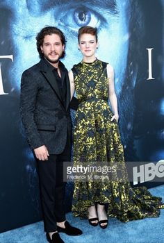Kit Harington and Rose Leslie. Game of Thrones premiere 2017