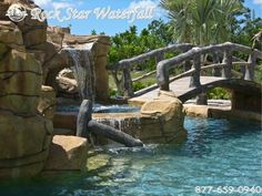Custom design and themed rock scapes. Lagoon Pool, Pool Waterfall, Custom Pools, Tropical Style, Water Slides, Pool Ideas, Pool Designs, Water Features, Garden Bridge