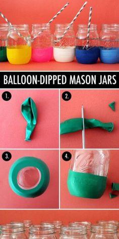 Leuke variant op het vaasje (waarbij de ballon geheel over het glaasje heen gaat en je het 'tuutje' naar binnen vouwt.)