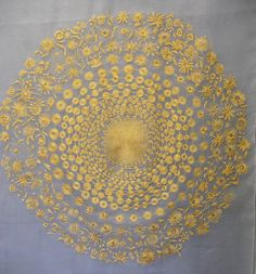 Dip Your Mind in Gold Spiral of gold flowers reducing into a single line of gold spots and lines. Movement to stillness. 960x1200mm