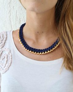 Statement Necklace - Navy blue woven thread necklace - Chain and thread necklace - Gold chunky chain necklace on Etsy, $35.00