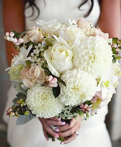 Dahlia, Rose, Stars of Bethlehem, Snowberry and Dusty Miller Bouquet Perfect Wedding, Dream Wedding, Wedding Beauty, White Dahlias, White Flowers, Beautiful Flowers, White Dahlia Bouquet, Flower Boquet, Blush Bouquet