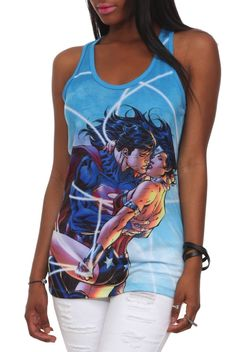 Printed Tank Tops With Superman, Wonder Woman