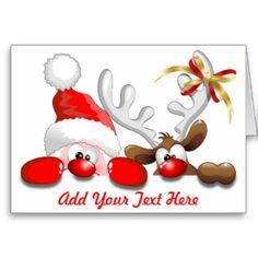 Funny Santa and Reindeer Cartoon greeting Card