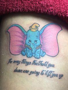 My Dumbo tattoo. Little Tattoos, Love Tattoos, Body Art Tattoos, I Tattoo, Dumbo Tattoo, Baby Dumbo, Tattoo Ideas, Tattoo Designs, Elephant Tattoos