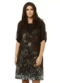3001-Brown zer otantik. www.buyukbedeniz.com  plus size dress, buyuk beden elbise