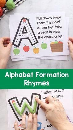 Teach children how to write letters with these alphabet formation rhymes. Each letter has a clever rhyme to help children learn to write. #teachingmama #prewriting #preschool #printables