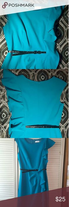 Cute Teal Blue Dress with ruffles & black belt The ruffles make the dress look unique & very stylish, looks nice with a blazer on top in very good condition Calvin Klein Dresses
