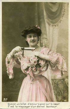 Original French vintage tinted real photo postcard - Lady in pink dress with letter - Victorian Paper Ephemera