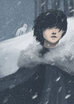 Jon Snow by Shtut on DeviantArt Brown Hair And Grey Eyes, Gray Eyes, The North Remembers, Dire Wolf, Game Of Thrones Art, Man Standing, Fantasy, Illustrations, Winter Is Coming