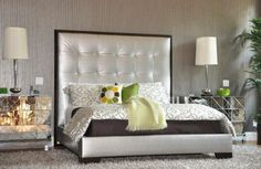 apholstered beds | Silver upholstered bed with a tall tufted headboard