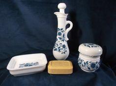 Vintage Avon Blue Flowered Milk Glass 3 Item by NannasVintageAvon