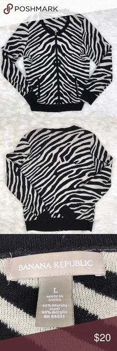 "Banana republic wool blend zebra print cardigan L Banana republic zebra print merino wool blend cardigan size large. Cute gold zippers. Super soft! Not scratchy like most wool. Armpit to armpit 20"", length 26"" Banana Republic Sweaters Cardigans"