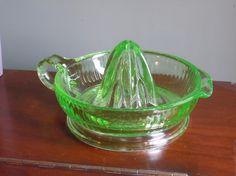 depression glass green juicer