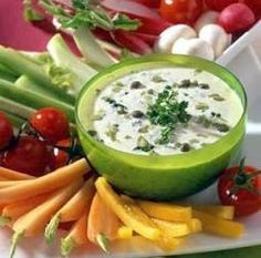 Crudite, Cheeseburger Chowder, Cantaloupe, Watermelon, Soup, Pudding, Sauces, Desserts, Mousse