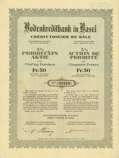 Historische Wertpapiere - Bodenkreditbank in Basel / Crédit Foncier de Bâle Stück] Basel, Stocks And Bonds, Savings Bank, Switzerland, Safe Room