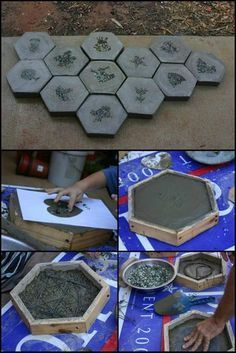 Make your own hexagon stepping stones Making your own stepping stones is a practical and fun way of upgrading your home. By making your own stepping stones you can choose to personalize them in any number of ways. Making your own stepping stones is a gre Cement Art, Concrete Crafts, Concrete Art, Concrete Garden, Concrete Projects, Cement Patio, Concrete Stone, Concrete Pavers, Diy Concrete Mold
