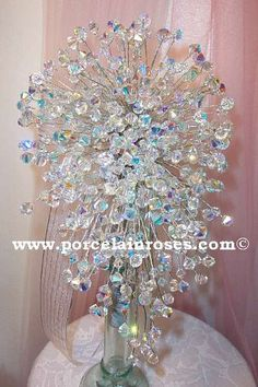 A Cascade crystal bouquet!  Wow!!  Bouquets have come a long way since I got married 24 years ago!