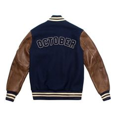 OVO X ROOTS FALL 2015 OCTOBER VARSITY JACKET October's Very Own ($492) ❤ liked on Polyvore featuring outerwear, jackets, varsity bomber jacket, blue jackets, varsity jacket, varsity style jacket and blue varsity jacket