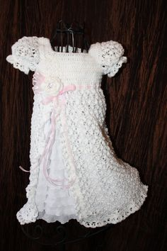 Ready to Ship 3-6 month size The Zoe - Blessing / Christening Dress  Crochet Heirloom Christening Gown Baptism Confirmation
