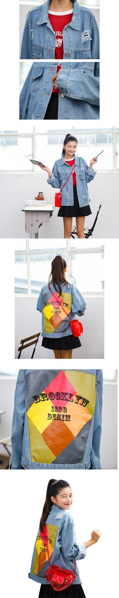 Boyfriend Style Casual Loose Ripped Denim Jacket Woman Basic Coats 2017 Spring Print Jeans Jackets Outwear Chaquetas Mujer