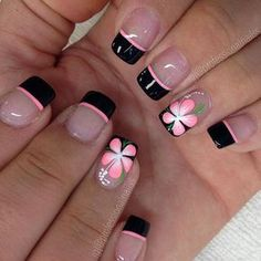 Acrylic nail designs give something extra to your overall look. Acrylic nails create a beautiful illusion of color. Lots of designs can be crafted in many different styles. Here are some exciting options to make cute and elegant short acrylic nail designs Fingernail Designs, Toe Nail Designs, Flower Nail Designs, Nails Design, Nails With Flower Design, Floral Designs, Simple Nail Art Designs, Easy Nail Art, French Nail Designs