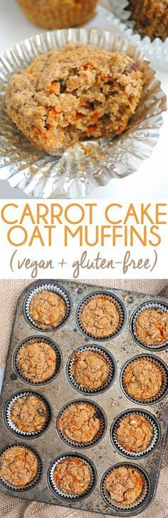 Tender, packed with carrots, and sweetly spiced, these vegan + gluten-free carrot cake oat muffins make a great grab-and-go breakfast or snack. Not sure about gluten-free! Healthy Vegan Dessert, Vegan Treats, Healthy Sweets, Healthy Baking, Healthy Snacks, Gluten Free Baking, Gluten Free Recipes, Vegan Recipes, Cooking Recipes
