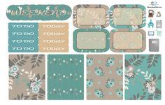 Taupe Floral Mini Planner Kit/ Mini Planner Sticker Kit/ Planner Sticker Kit…