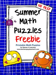 Summer Math Puzzles FREEBIES - Summer Math Puzzles with a fun Summer theme. This is Summer math that will make them think!