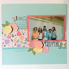 Kim's layout from the Lawn Fawn blog: SRM Stickers Blog Hop! Flutter By stamps, Bright Side paper