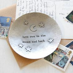 moon and back pewter trinket dish by kutuu - This delightful trinket dish is handmade in Wales from pewter and decorated with a gorgeous stars and moon design and the words love you to the moon and back. What an utterly romantic gift!