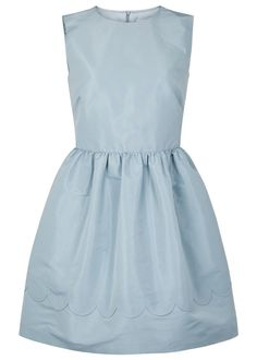 RED Valentino light blue faille dress Side pockets, scalloped hem detail, partially lined Concealed zip fastening at back 100% polyester; lining: 67% acetate, 33% polyester