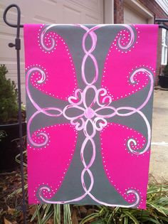 Cross Garden Flag. $30.00, via Etsy. -- hand painted on heavy canvas and sealed for weather
