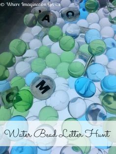 Light Table Letter Search - Letter Recognition with Water Beads from Where Imagination Grows