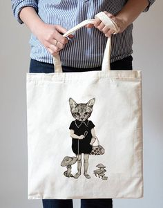 Cat Girl in Polo Dress Cotton Canvas Tote Bag