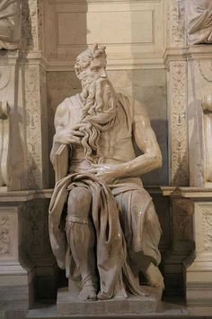 Michaelangelo's sculpture of Moses. He has horns because scripture was mis-interpreted. The bright light that came off of Moses when he came down from Mt. Sinai was translated into horns.