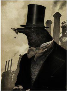 Raven - by Bill Mayer Illustrations, Illustration Art, Quoth The Raven, Crow Art, Crows Ravens, Weird Dreams, Animal Heads, Pet Portraits, Dark Art