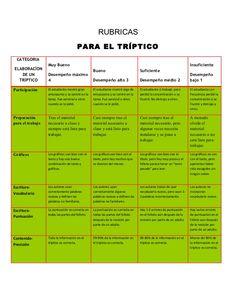 RUBRICAS                                       PARA EL TRÍPTICO CATEGORIA                  Muy Bueno                      ...