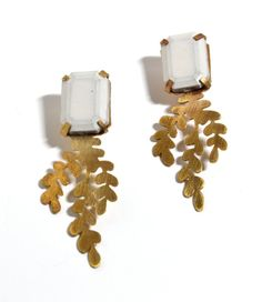 Limited Edition Cement and Brass Fern Earrings via Etsy