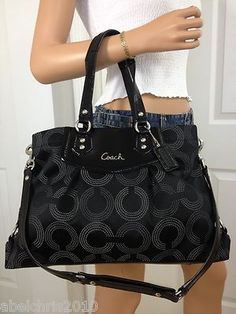 182ffe2520 COACH ASHLEY LARGE BLACK GRAY SIGNATURE DOTTED CARRYALL SHOULDER BAG PURSE  Coach Purses Cheap