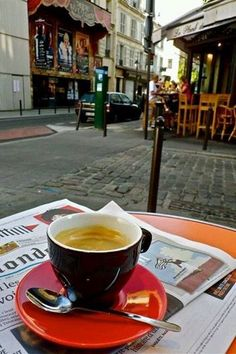 Coffee at a Cafe on a Paris street corner.