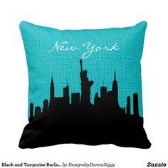 #Black and #Turquoise #Burlap #New #York #Skyline Print #Pillow #zazzlebesties #zazzle  #home #shopping  #PopularPillows #CutePillows #homedecor