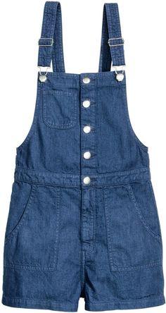 H&M - Denim Bib Overall Shorts - Dark denim blue - Ladies