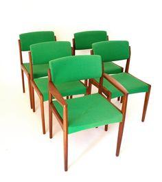 Mid Century Modern Teak Chairs by H.W. Klein by vintagemodernmaine